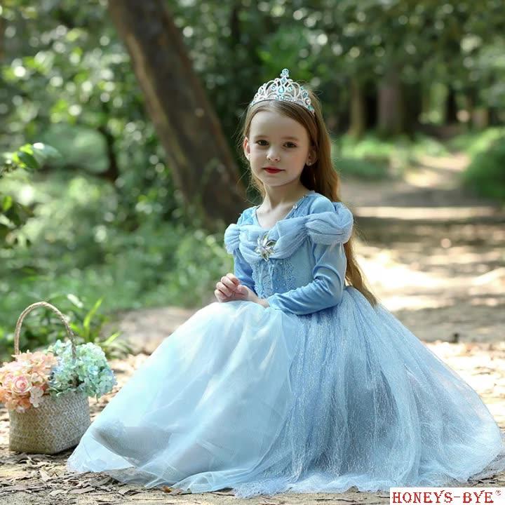 Cinderella Princess Dress Costume Girls Daily Use Dress for Kids Yellow Princess Fairy Dress