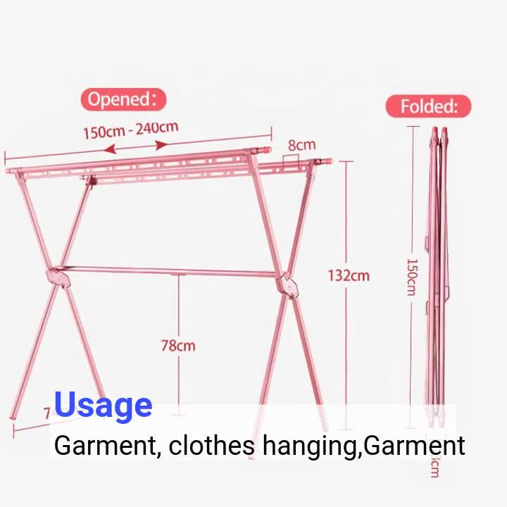 Adjustable clothing dryer Aluminium Clothes Drying Rack Dry Racks Stand