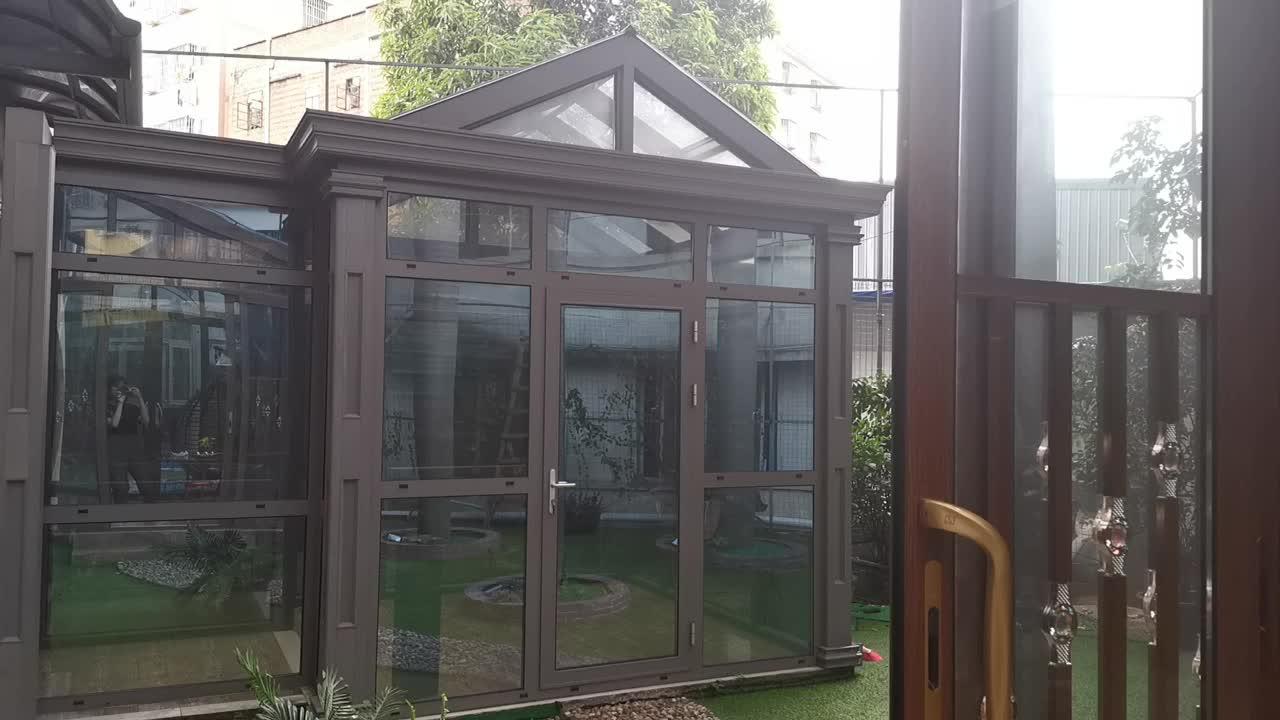 नई डिजाइन Sunroom उद्यान मंडम ग्लास हाउस ग्रीनहाउस एल्यूमीनियम आउटडोर लकड़ी sunroom