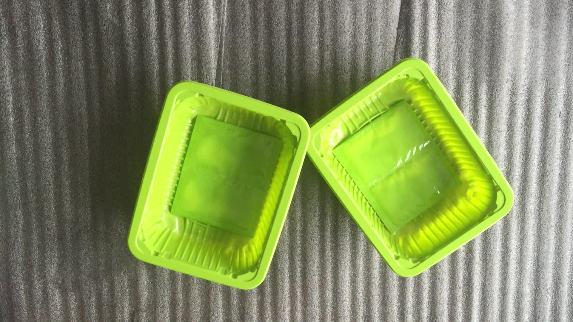 Internationale standaard supermarkt dispaly oem vis/schaal-en schelpdieren/vlees/fruit met absorberend wondkussen plastic bevroren voedsel lade verpakking