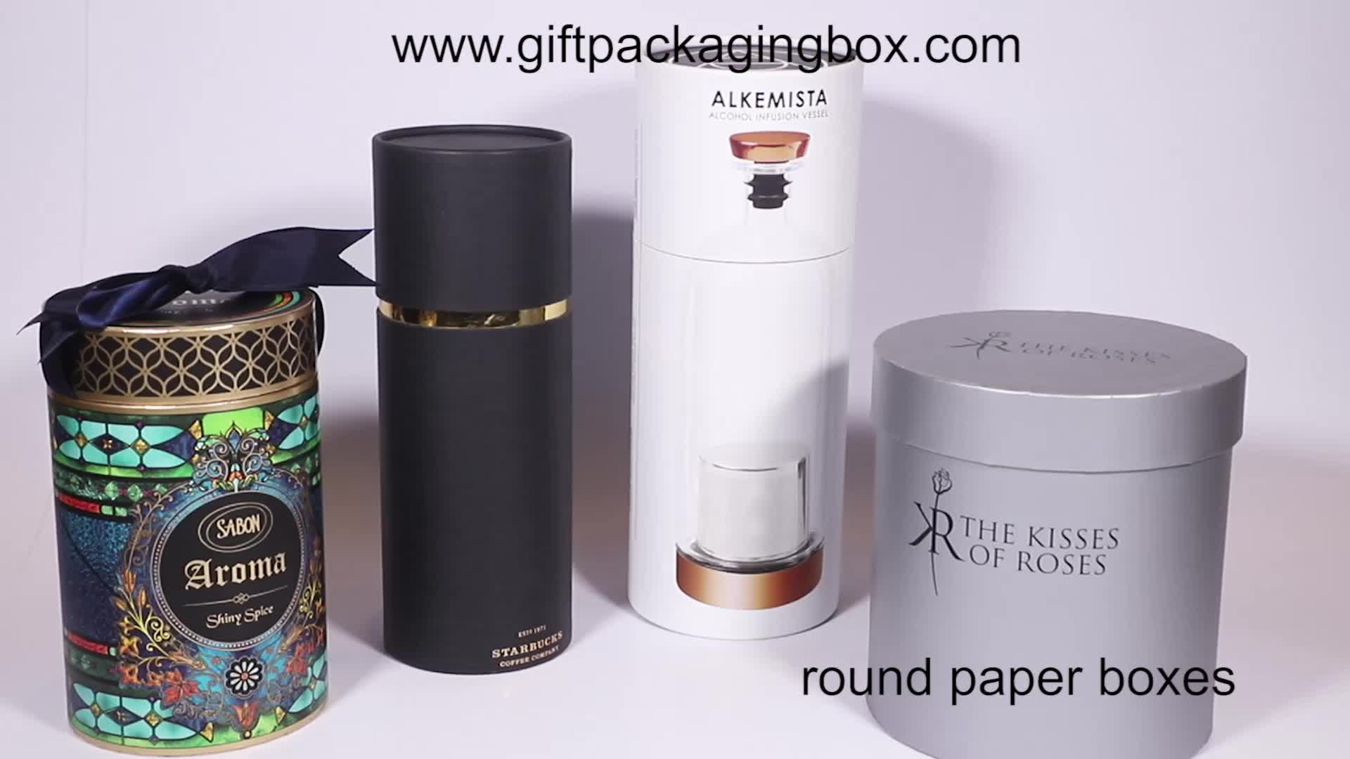 Custom New Design Luxury Gold Stamping Rose Flower Round Hat Box