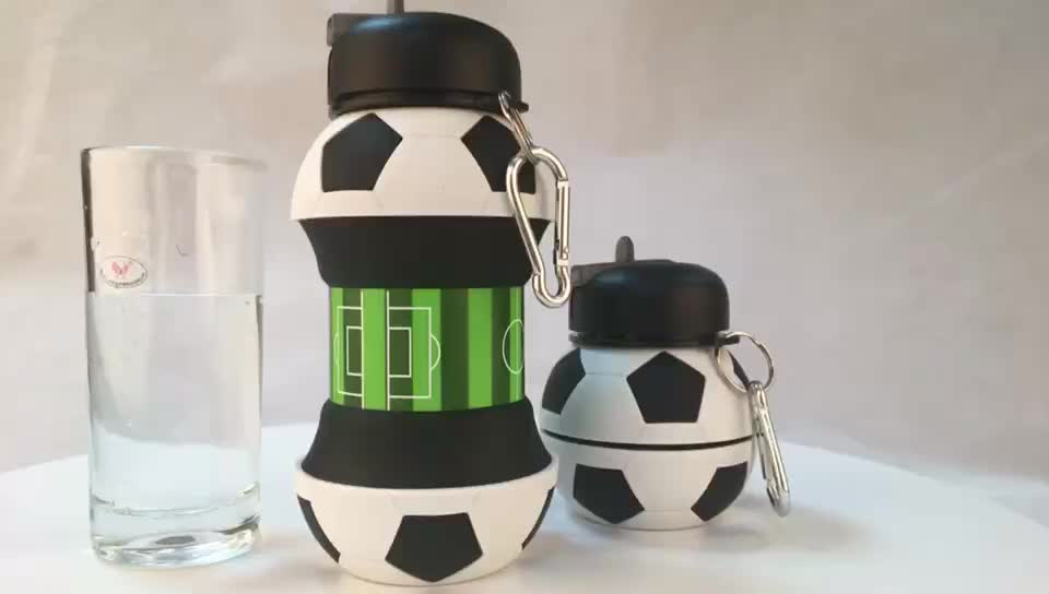 Bpa Free Custom Shaped Collapsible Silicone Water Bottle With Straw