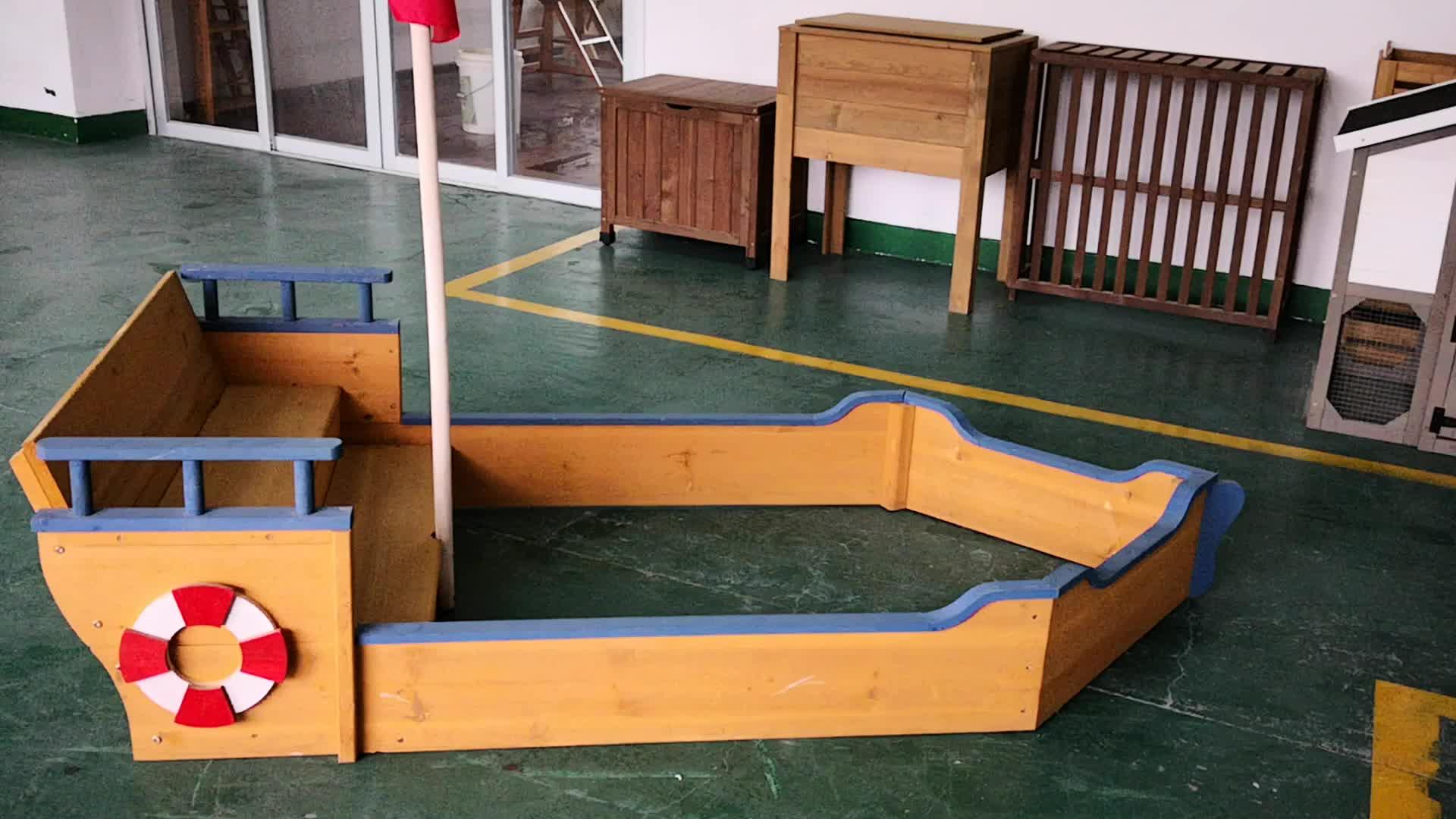 Playground Toys Games Boat sandbox Wooden sandbox for Outdoor