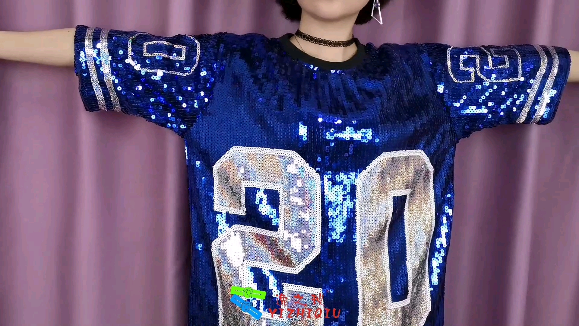 YIZHIQIU blue 20 sequin jersey one size fit all dresses sequins