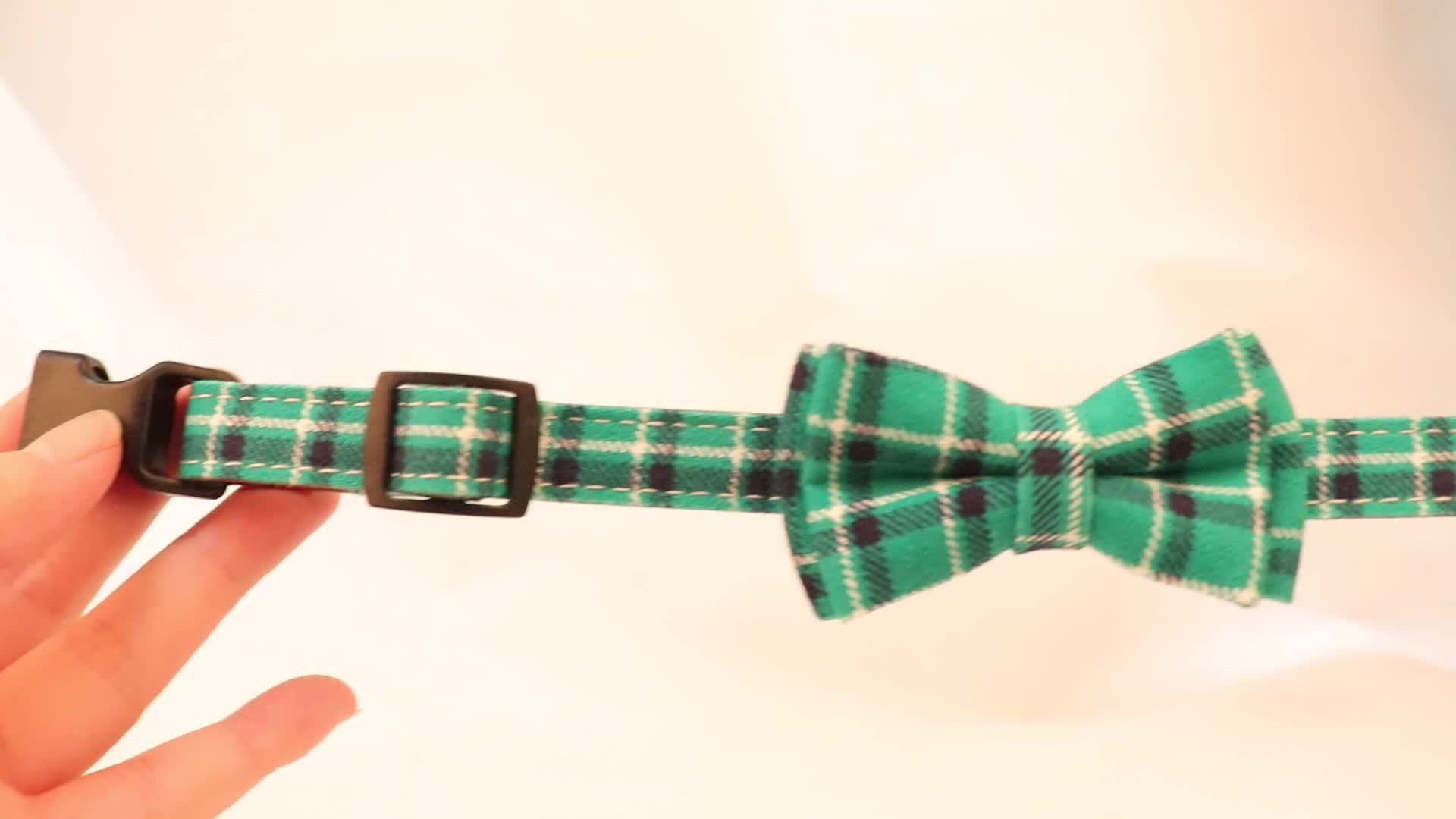 Amigo wholesale personalized customize plaid various colors tweed bow tie dog collar for small medium large dog