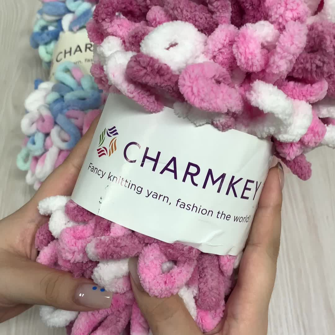 Charmkey high quality big loop polyester fancy yarn for hand knitting from factory in China