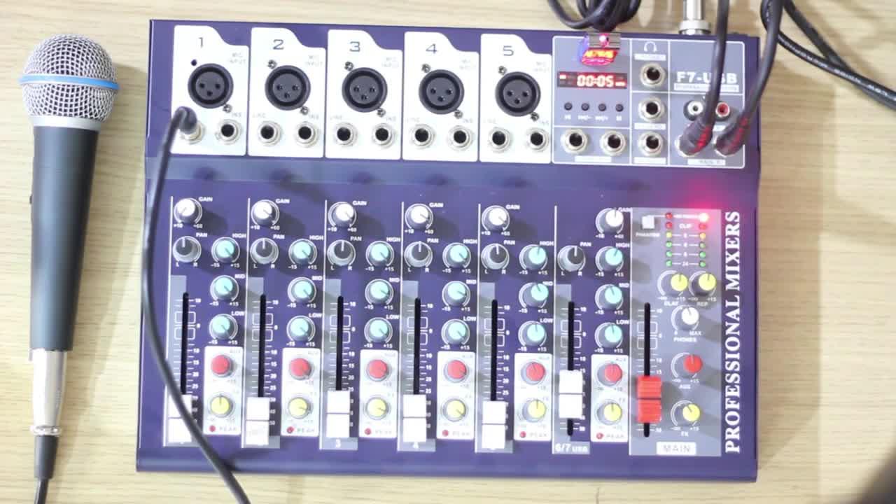 Wholesale Mini Audio Mixers With MP3 Dj Sound F7 USB Channel Bluetooth Studio Console