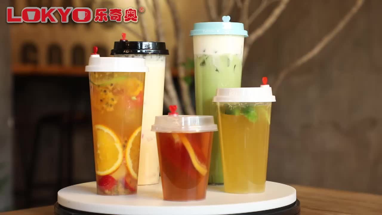 Custom logo smoothie disposable plastic boba milktea cups bubble tea cup with lid
