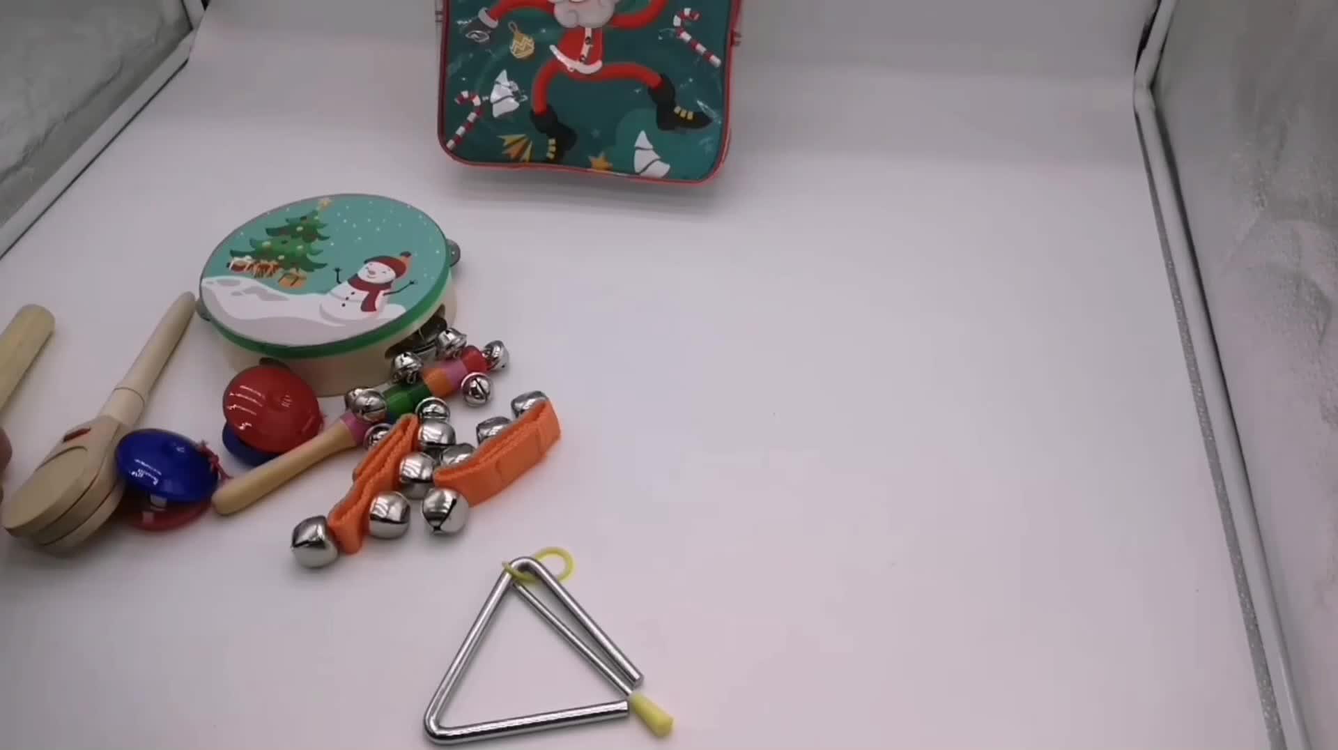 2018 instrumentos musicais de Madeira Brinquedos Do Bebê Crianças Preschool Educacional com saco do pvc