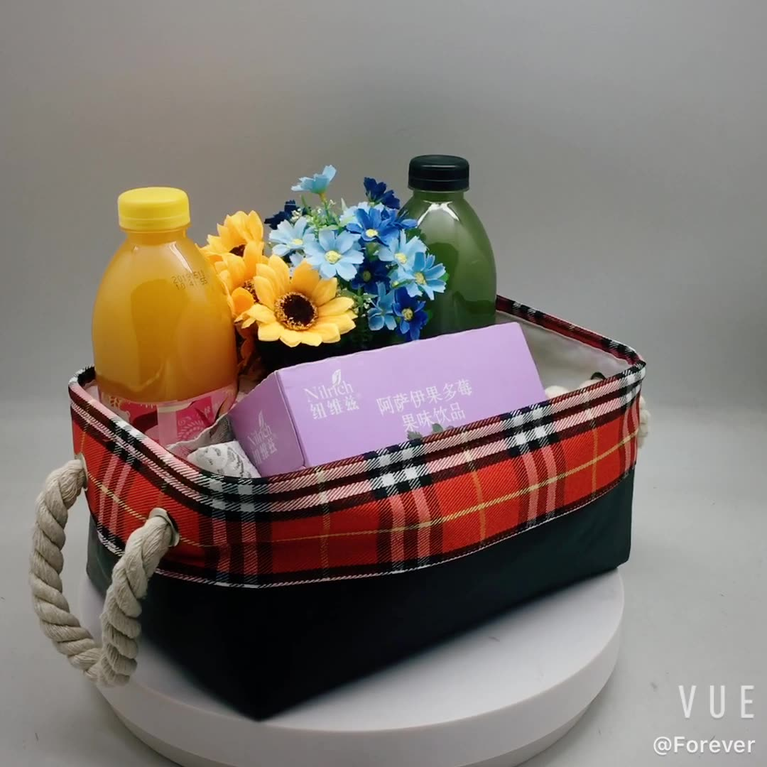 Eco Custom Waterproof Home Foldable Fabric Storage Basket For Clothes Toy