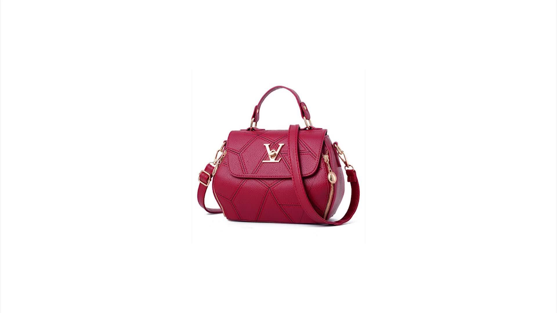 EMC041 Wholesale ladies tote shoulder bags women designer brand name pu leather handbags