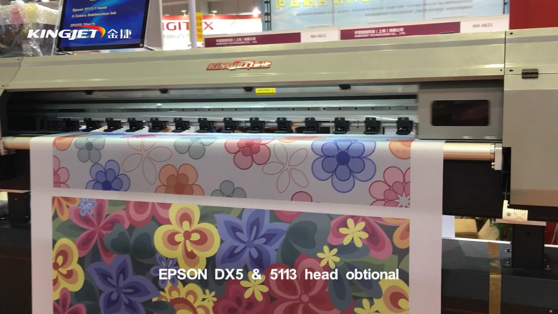 KingJet dye sublimation tecido têxtil máquina de impressão digital de t camisa da bandeira de algodão
