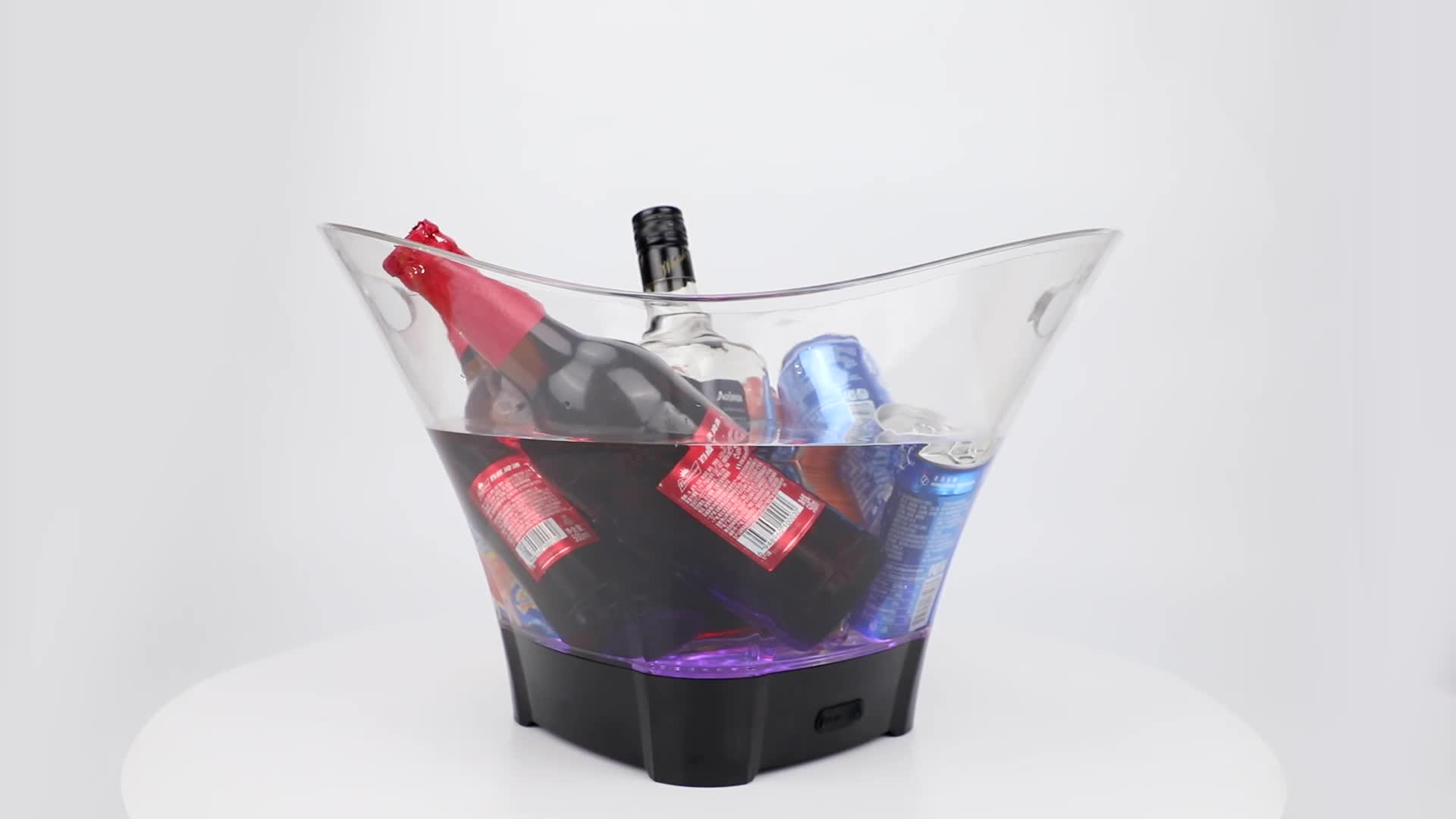 new style promotion 12L blue clear acrylic plastic large beer bottle service led ice bucket custom