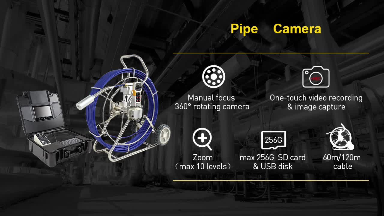 Wopson Push Rod Self Leveling Video Drain Sewer Plumbing Camera With Meter Counter