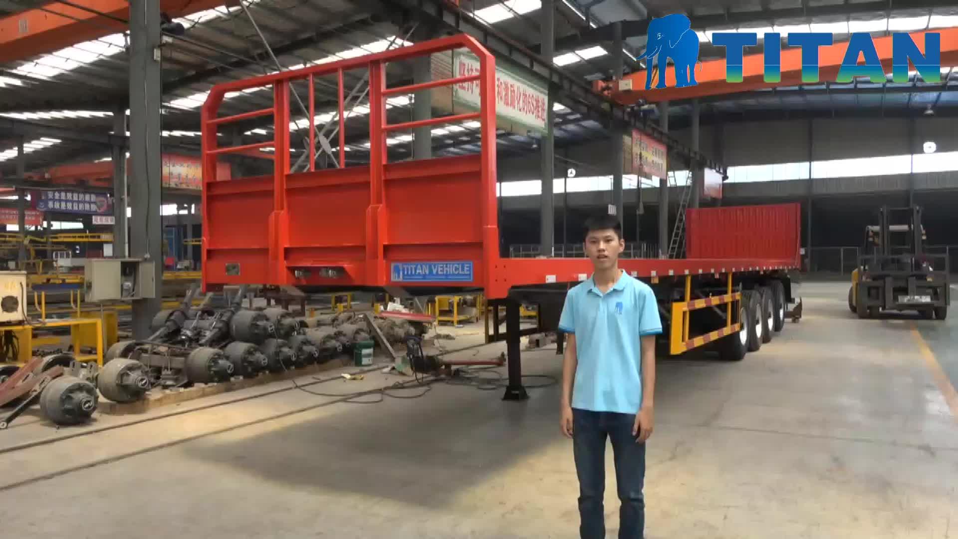 TITAN 4 axle container cargo transport flatbed semi trailer for sale