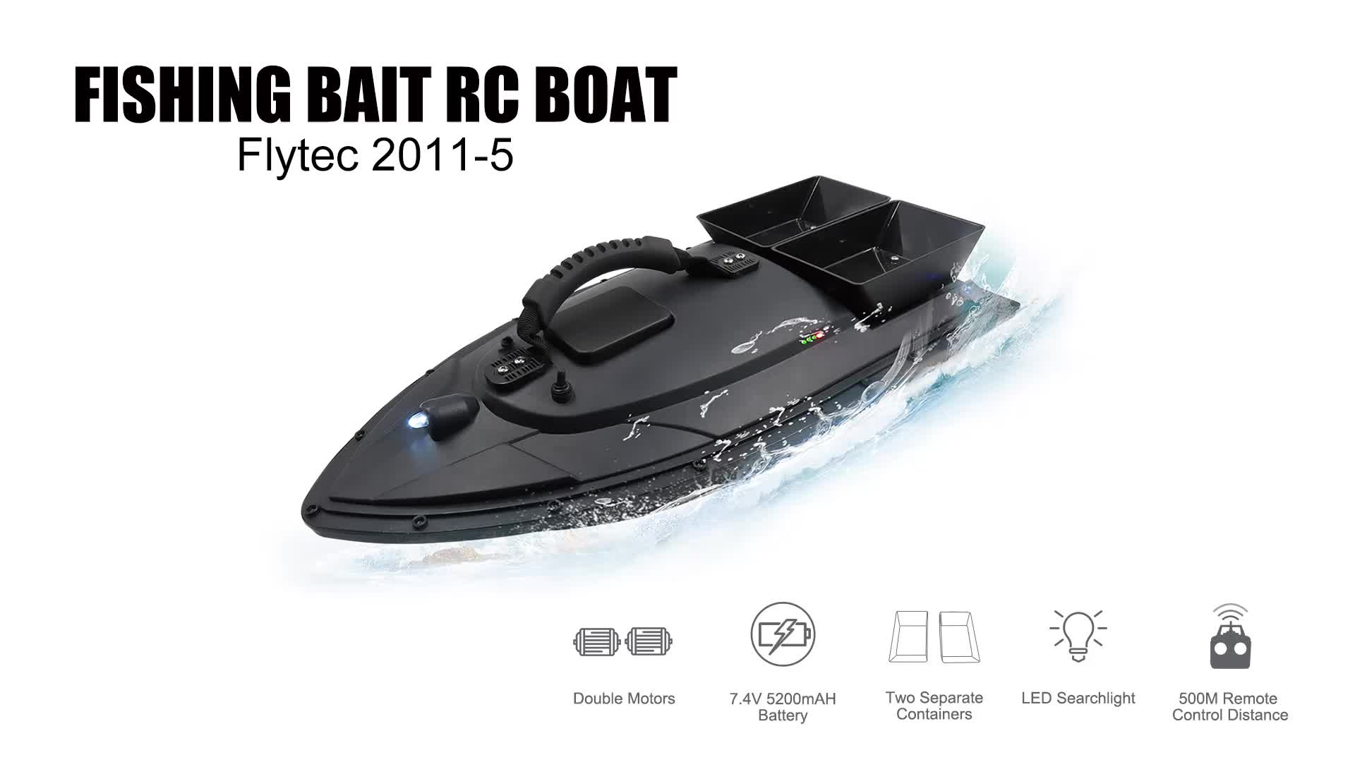 Flytec 2011-5 Fish Finder RC Carp Fishing Bait Boat With 1.5kg Loading And 500m Remote Control Bait Boat For Baiting