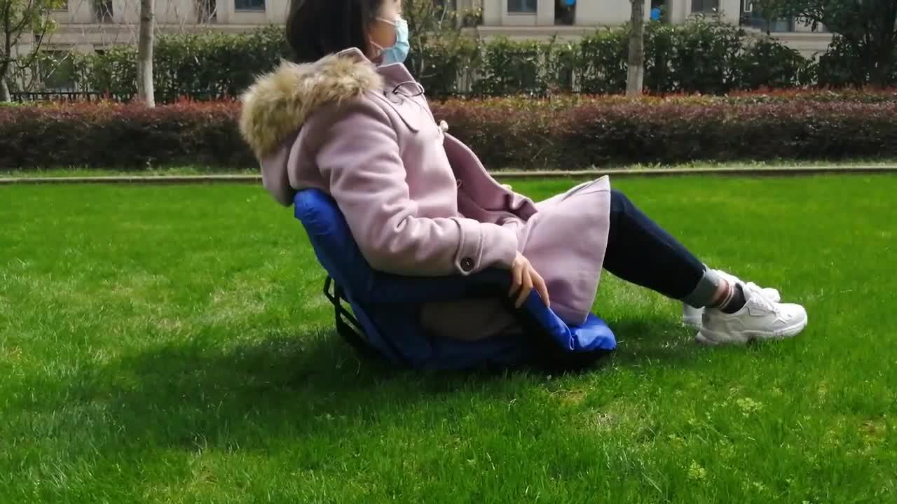 Waterproof Padded Armrest Adjustable Folding Floor Stadium Chair Ground Seat Portable