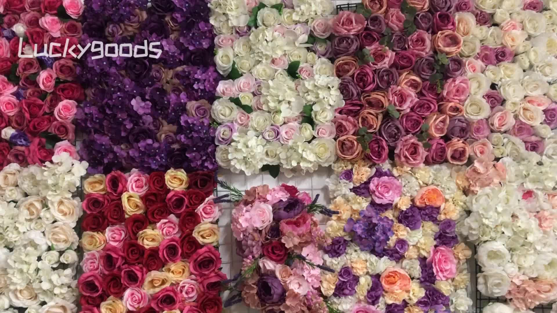 LFB982 garden decoration double layer artificial rose wedding flower wall handmade quality floral wall backdrop for sale