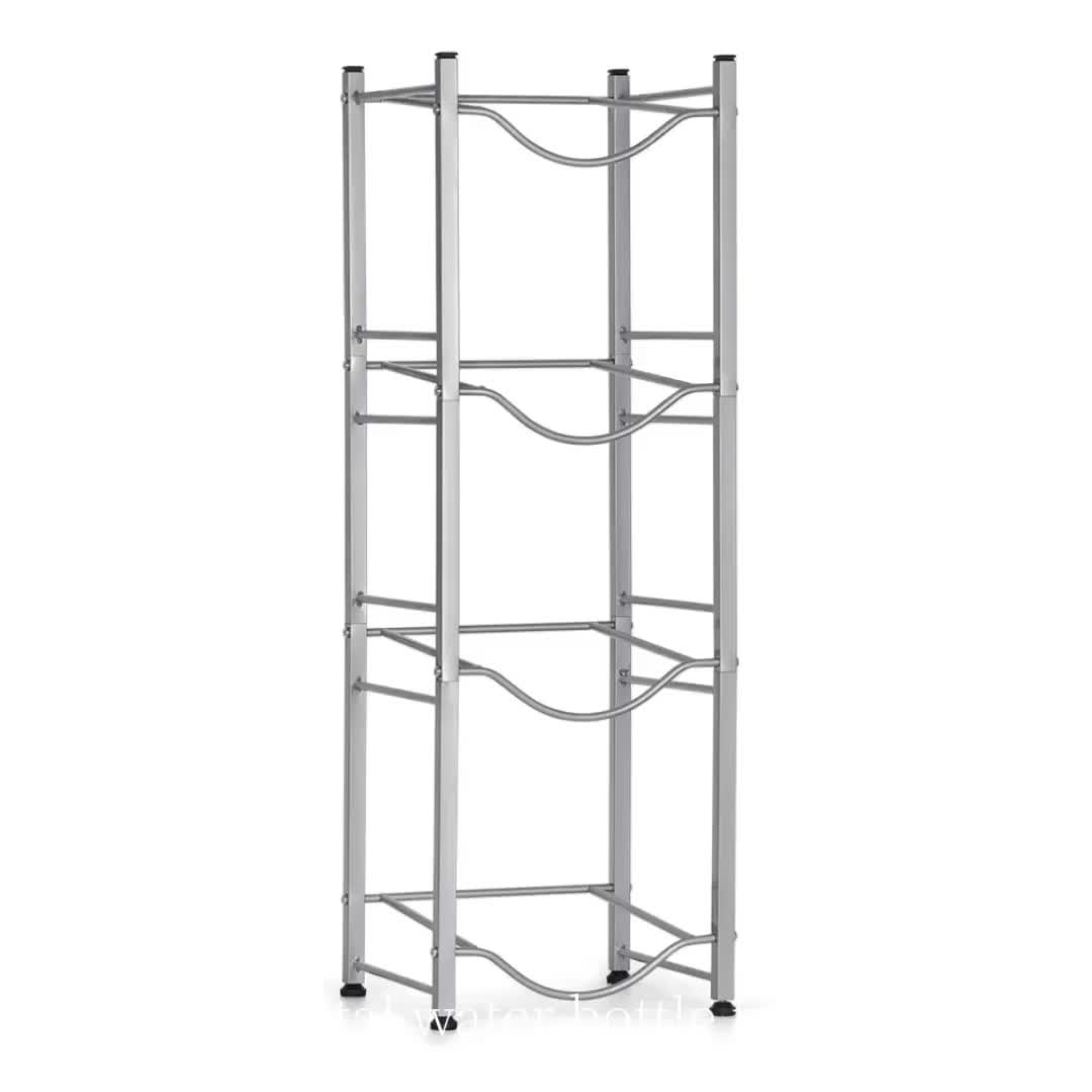 Wholesale home supply storage rack flooring metal wire 5 gallon display water rack  4 tiers water bottle display shelf