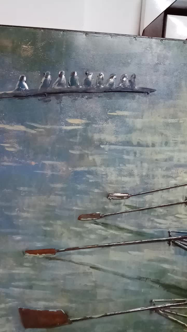 3D Metal Boating on the lake  Iron Craft for Wall art painting