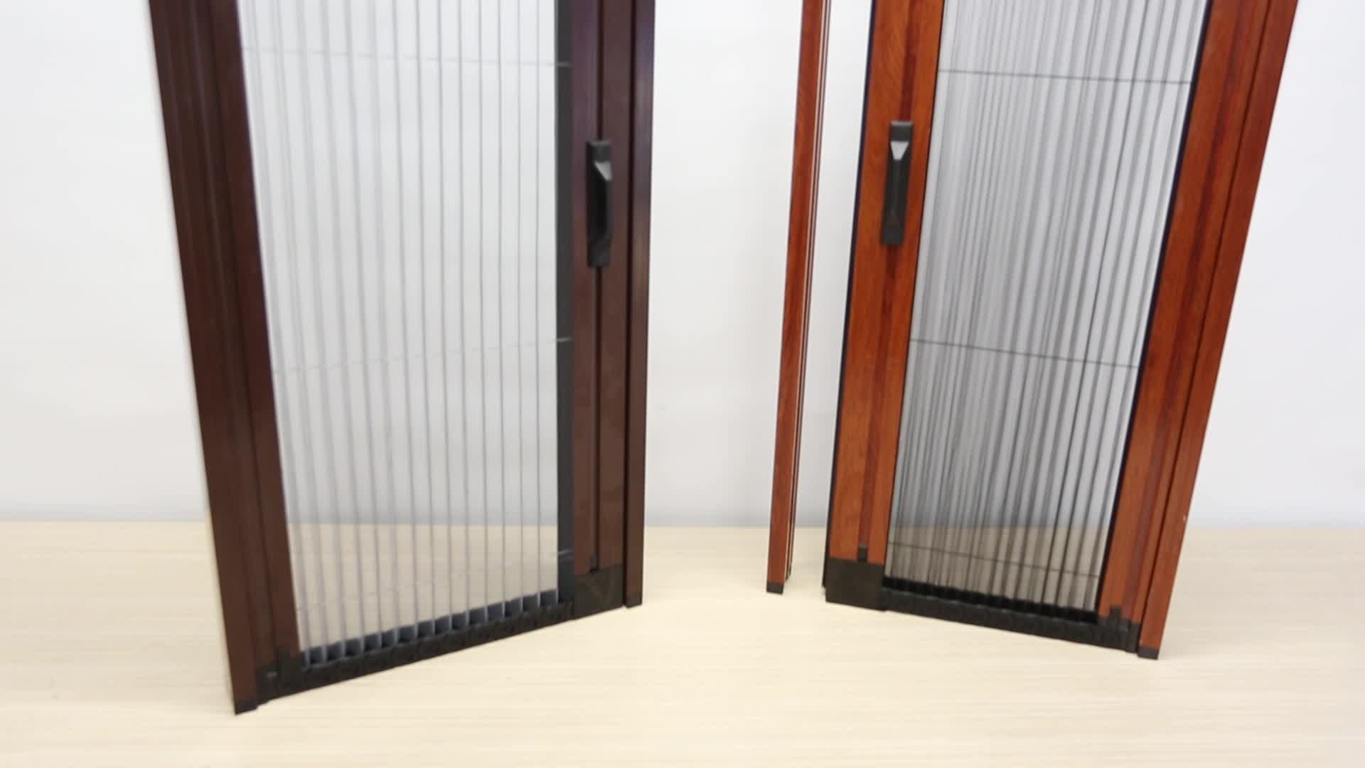 Trackless Pleated Mosquito Net Sliding Fly Screens Door With