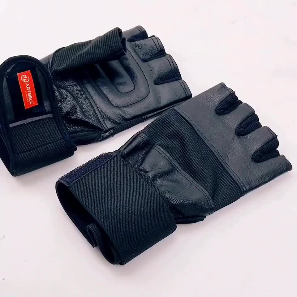 Half finger wrist wrap fitness glove with anti-Slip leather palm weight lifting gloves