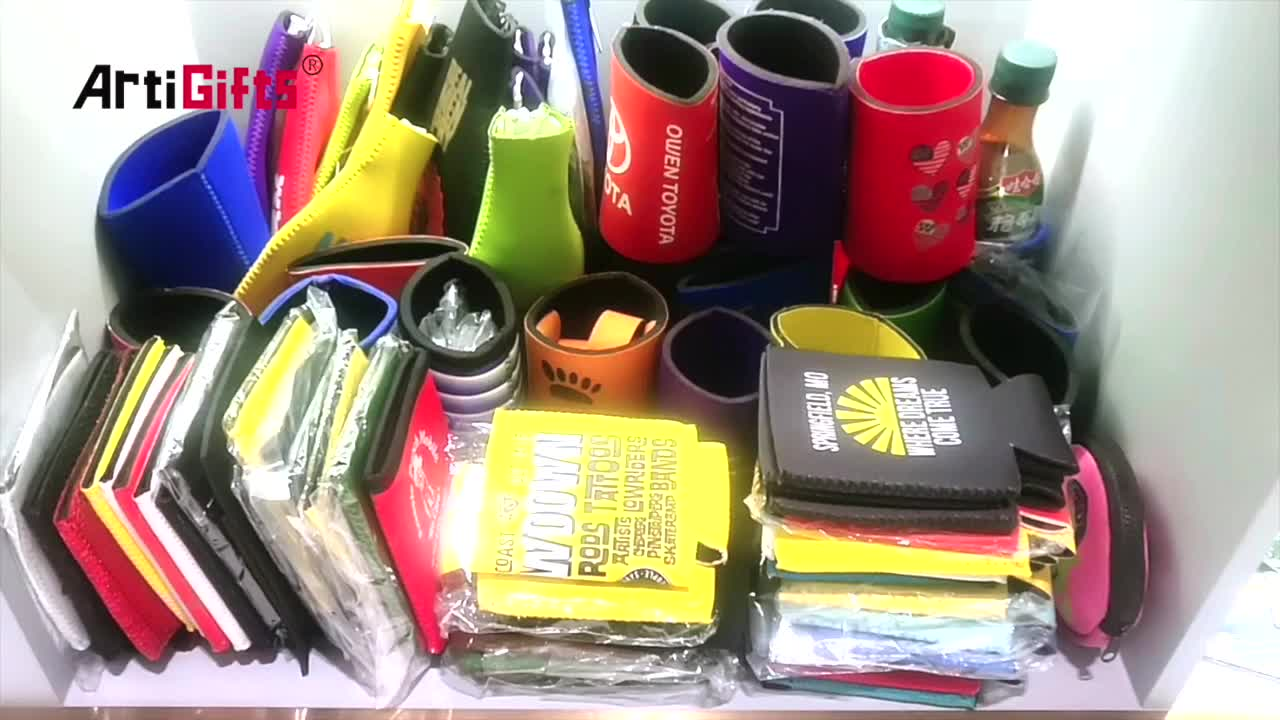 Neoprene water bottle can cooler bag with drawstring