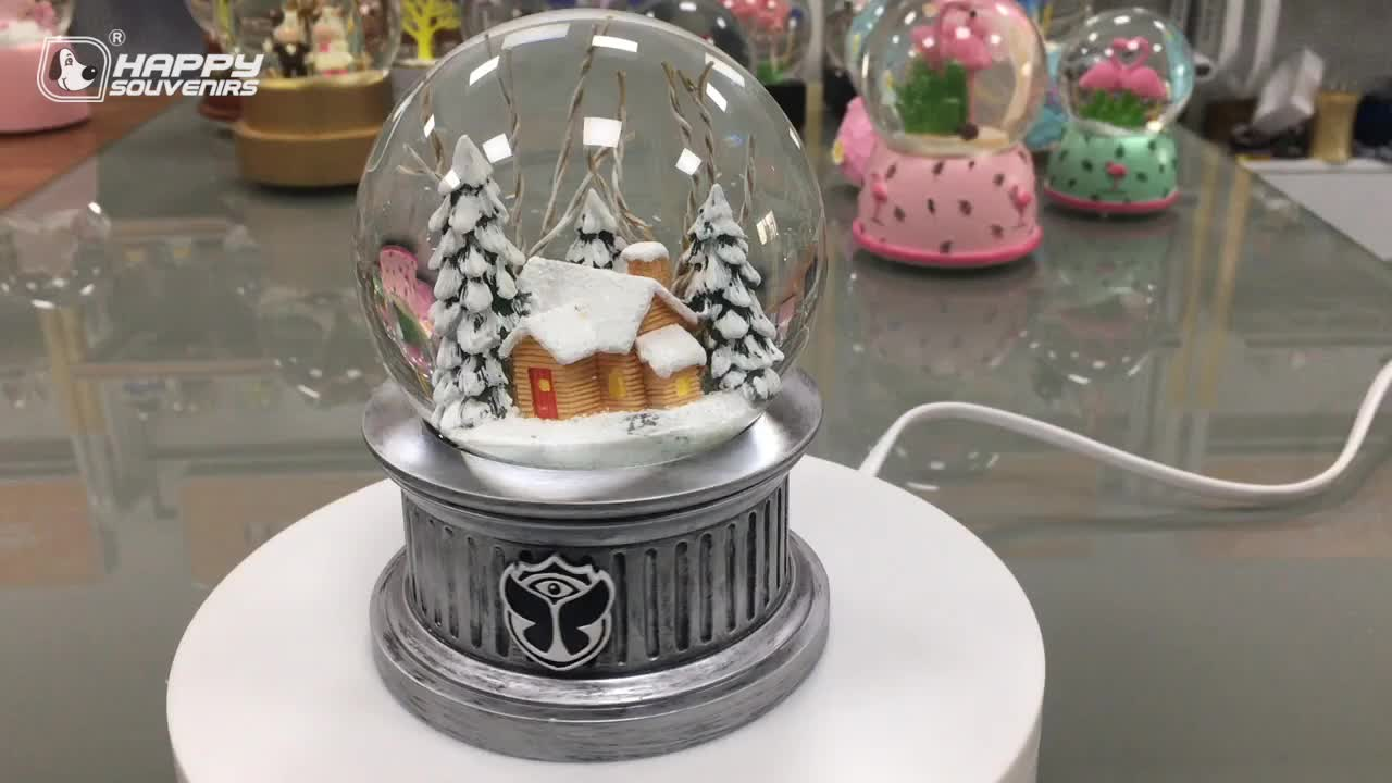Christmas LED Light Decoration Gifts Snow Globe 100mm Silver Base Snowball Christmas Trees For Kids