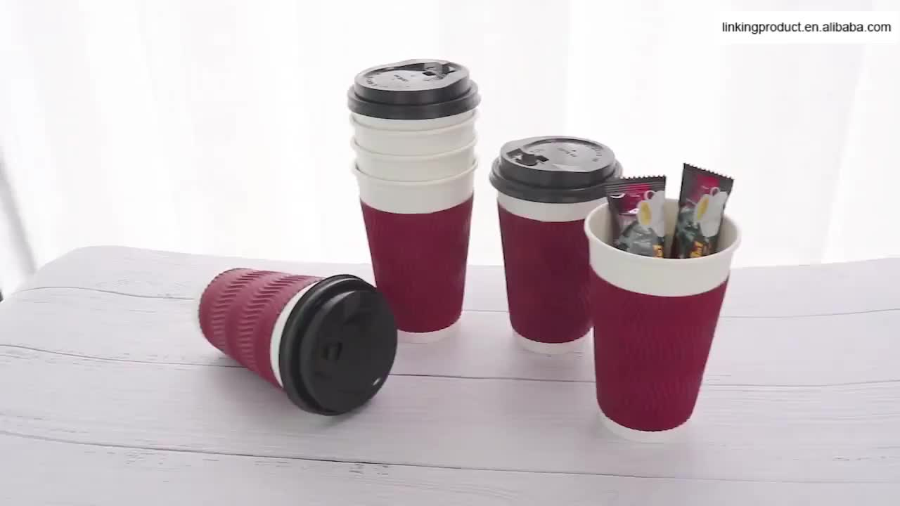 wholesale printing disposable coffee paper cup with plastic lid