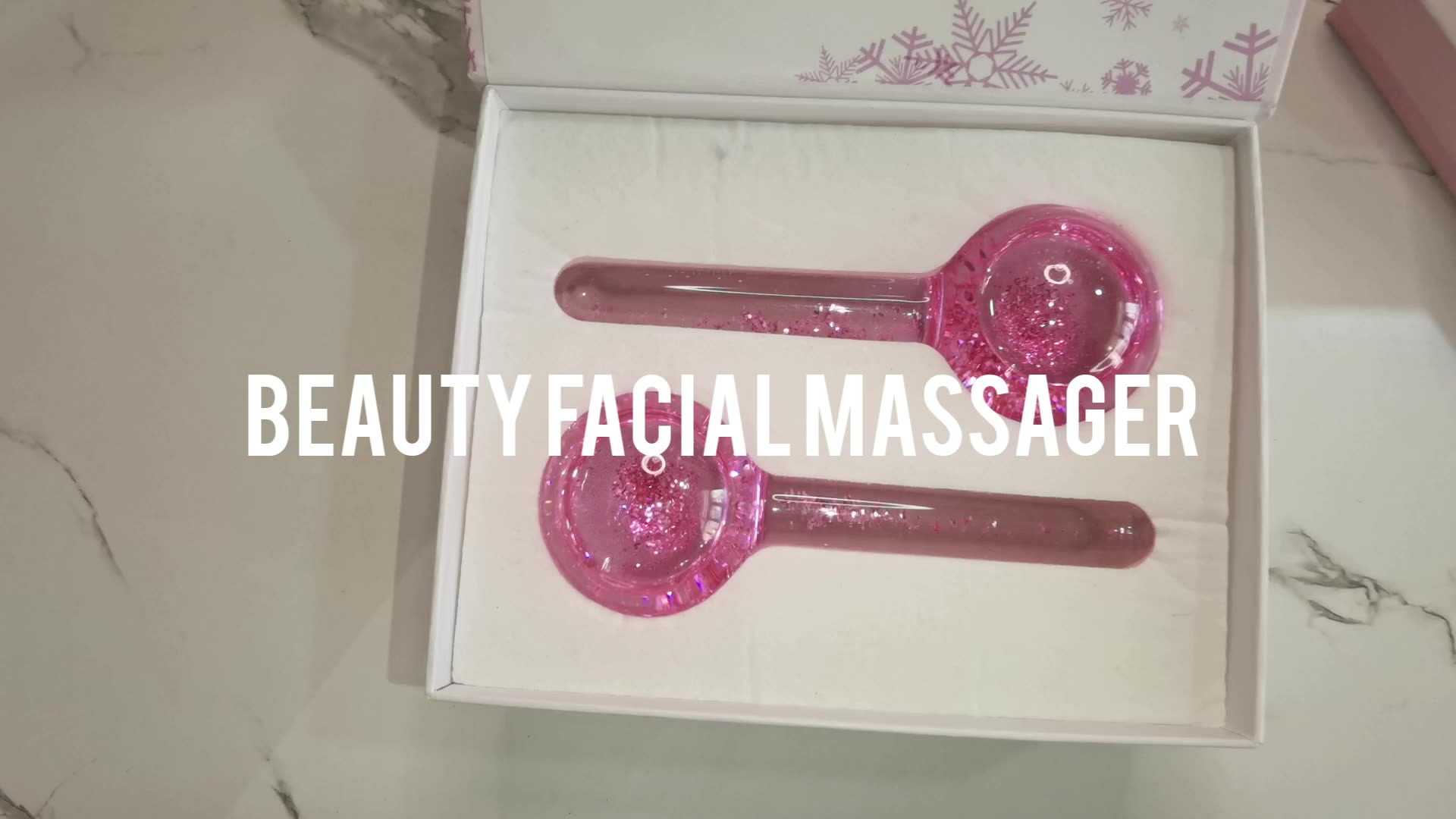New design Hot Sale 2pc Beauty Facial Massager Magic Ice Roller Ball Glitter Pink Ice Globes For Face Anti Aging