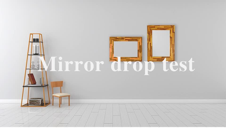 Finger joint teak wood wall mount bevel mirror
