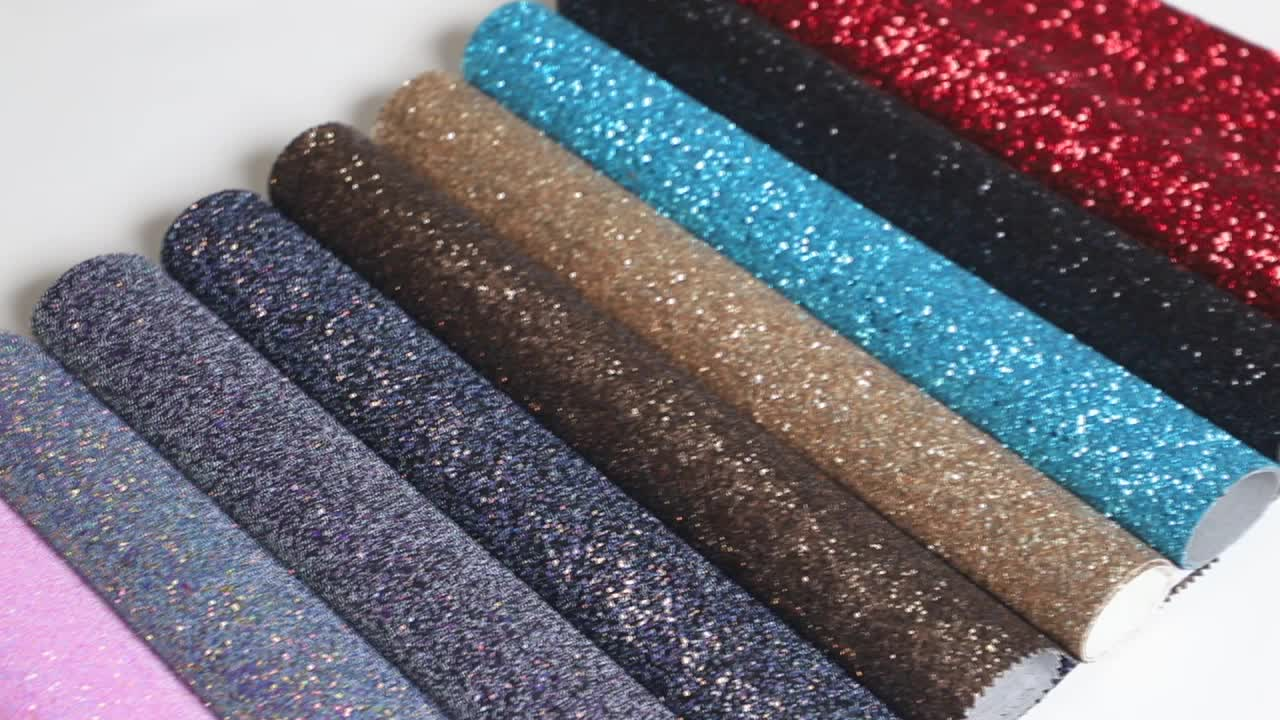 Grade 3 chunky faux glitter fabric leather for wallpaper handbag shoes decoration