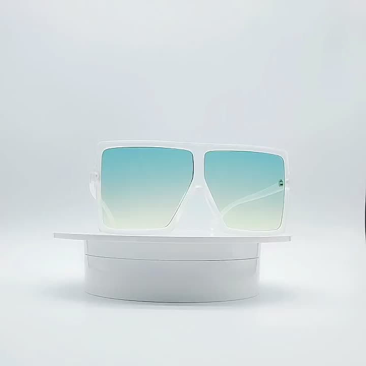 Big Frame Newest Large PC Frame Flat Top Gradient Sun Glasses Oversized Rectangle Plastic Frame Red Sunglasses