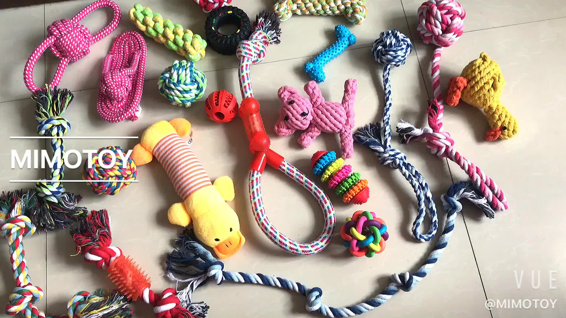 สัตว์เลี้ยงผู้ผลิตของเล่น Knot เชือกสุนัขของเล่นต่ำ MOQ Interactive Teething ทำความสะอาด Chew Squeaky สัตว์เลี้ยงของเล่นสุนัข ball