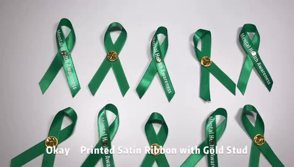 Individuelles Logo Polyester Green Awareness Band Mit Gold Sicherheit Pin