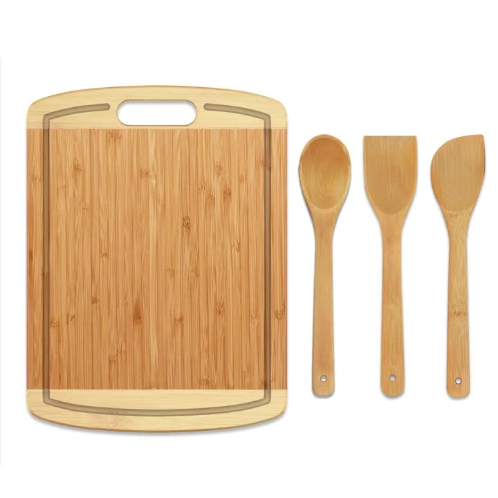 Bamboo Cutting Board Medium Chopping Boards with Juice Groove for Kitchen,Organic Bamboo Butcher Block and Serving Tray