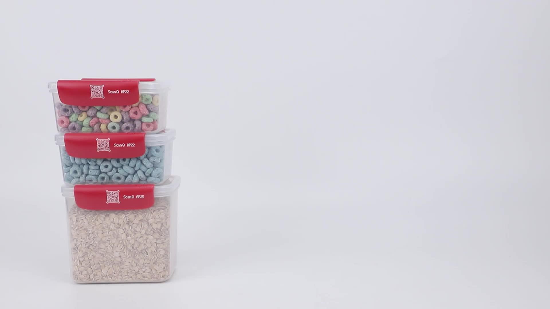 4pcs डिस्काउंट सस्ते स्मार्ट Stackable पेंट्री लाल ढक्कन के साथ वायुरोधी प्लास्टिक खाद्य भंडारण कंटेनर सेट