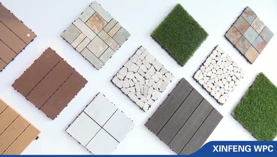 Imperméable et Solide Vert Teck WPC Carreaux De Sol