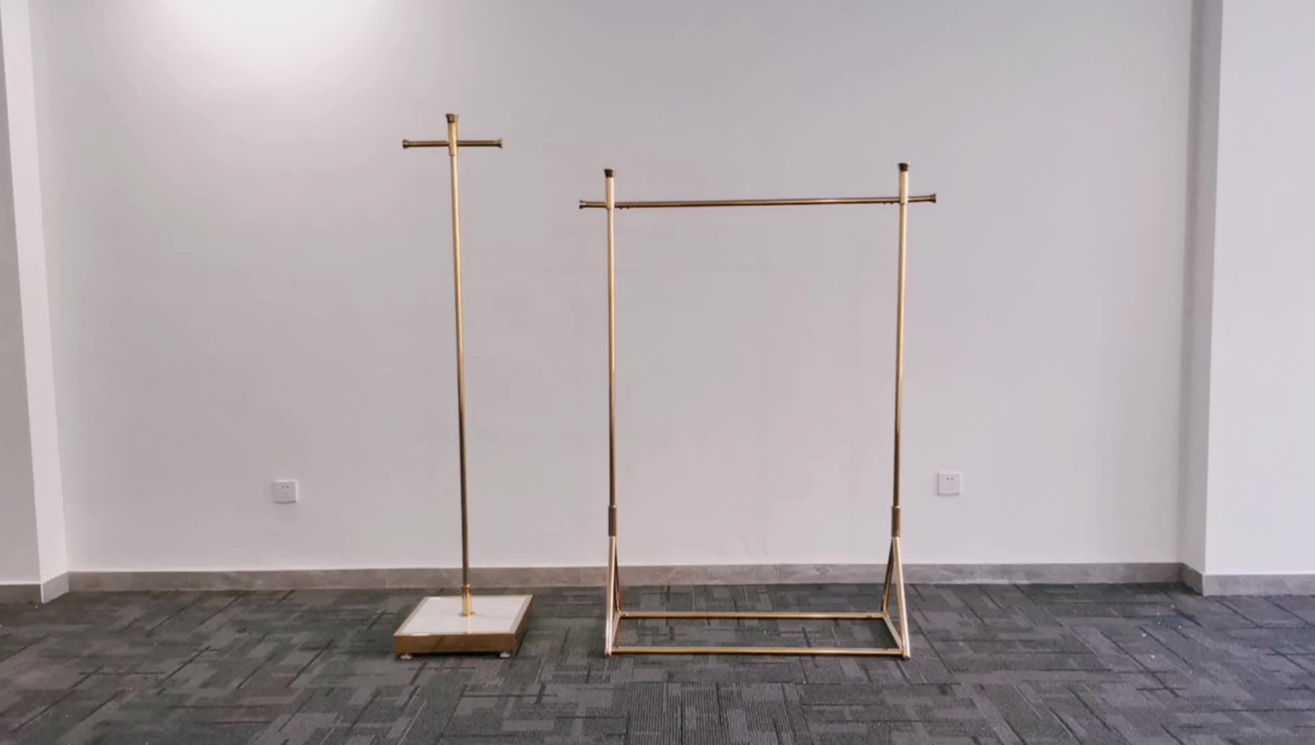 Indoor Clothing Boutique Display Garment Metal Gold Clothing Store Display Rack for Women Store