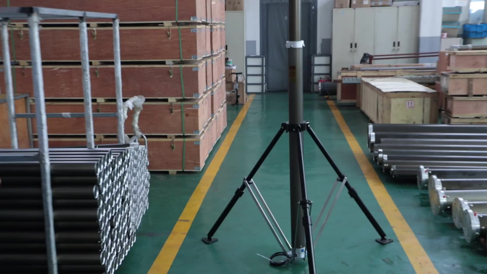 Tiang Teleskopik Kamera Pneumatik, Beban Kepala 30Kg 4M 5M 6M untuk Pengawasan Video