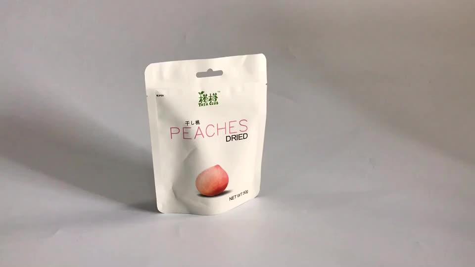 Acabamento fosco de plástico pequeno saco de embalagem de frutas secas pêssego com entalhe do rasgo