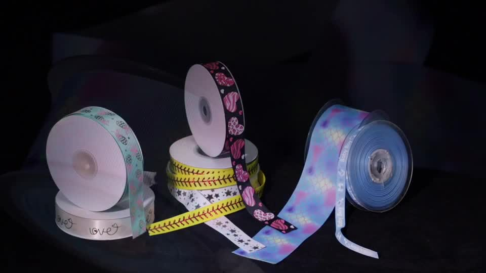 "High quality 3"" custom printed grosgrain ribbon for cheer bows"