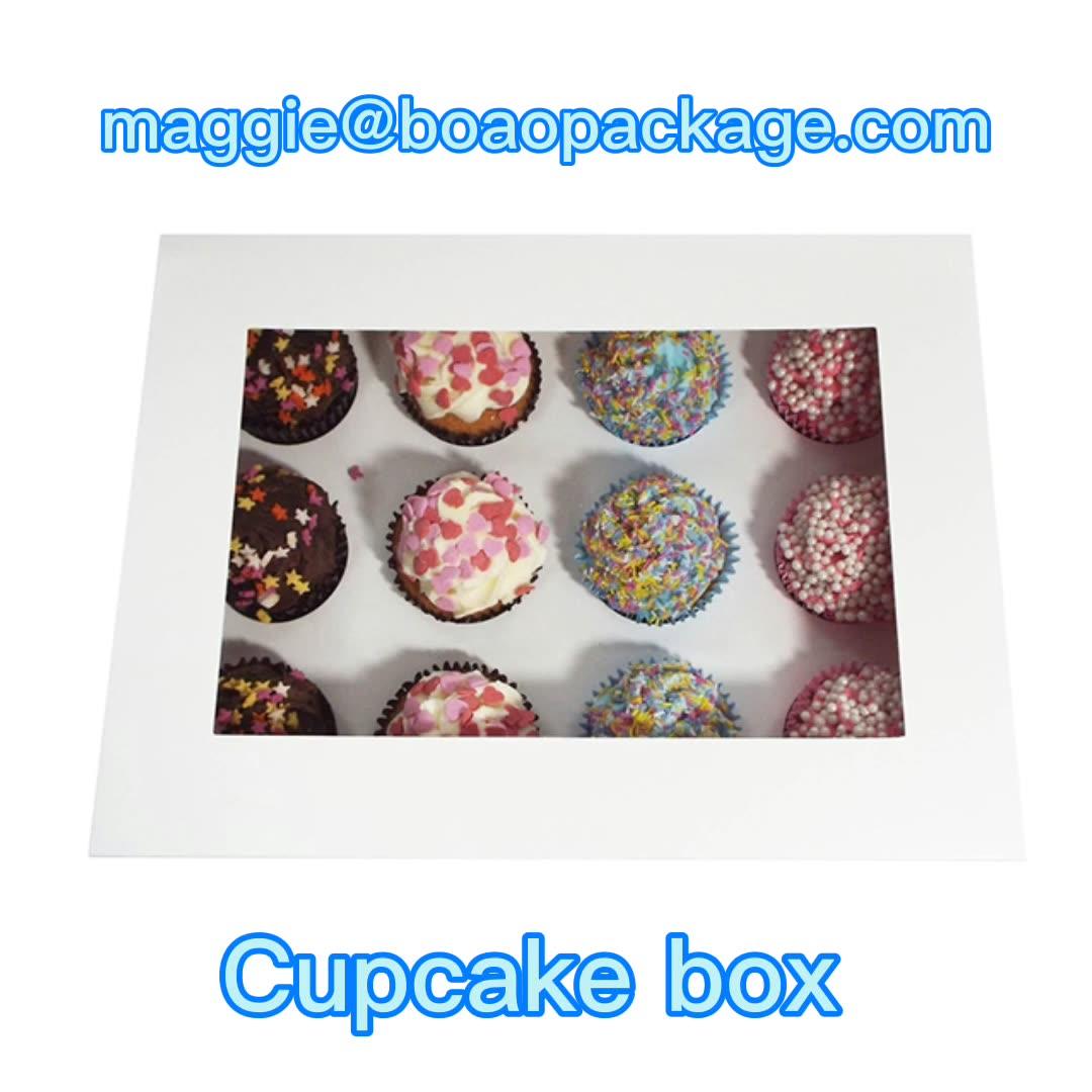 カスタム12穴ホワイトカップケーキボックスとクリアウィンドウ付きインサートホワイトカップケーキ包装ボックス