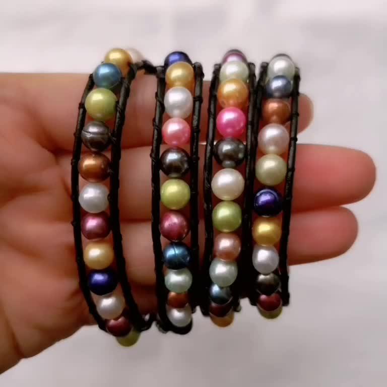 FPB257 Handmade Jewellery Leather Wrap Bracelet Multicolor Freshwater Pearl Bracelet