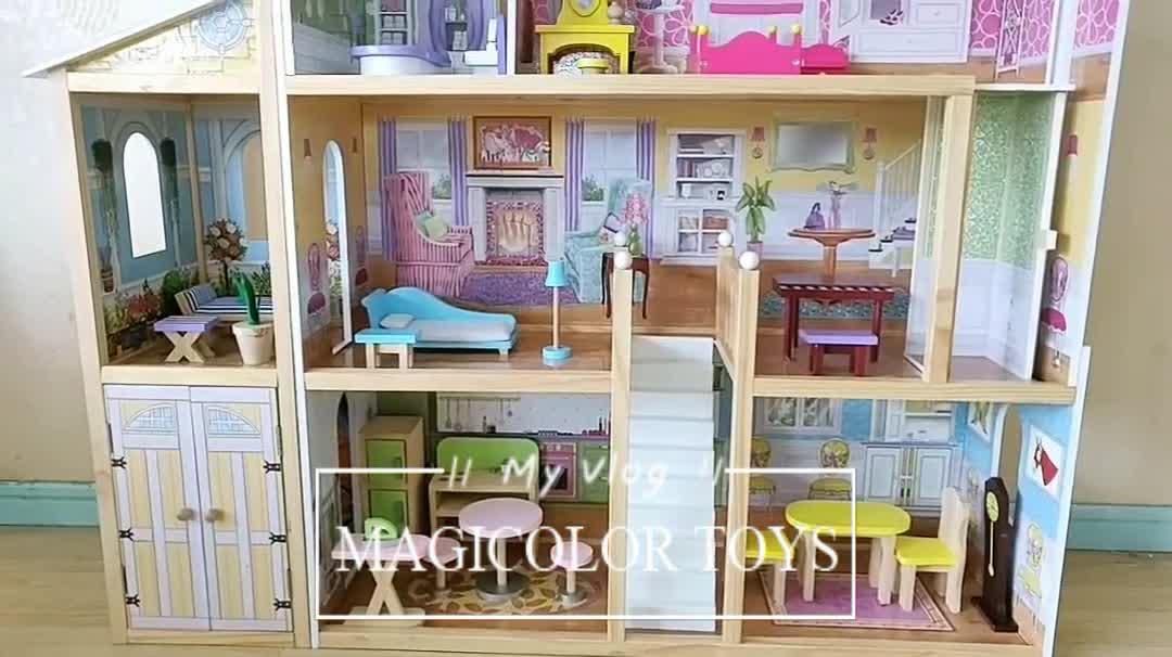 Grosir 34 Buah Furnitur Mainan Rumah Boneka Kayu Anak Perempuan Mewah Desain Baru Mainan Rumah Boneka Kayu Anak-anak W06A217