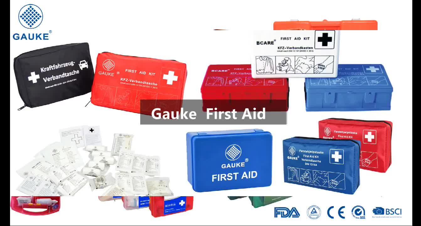 Kombi Set 2 in 1 with DIN13164-2014 Medical Emergency First Aid Kit for Roadside Emergency