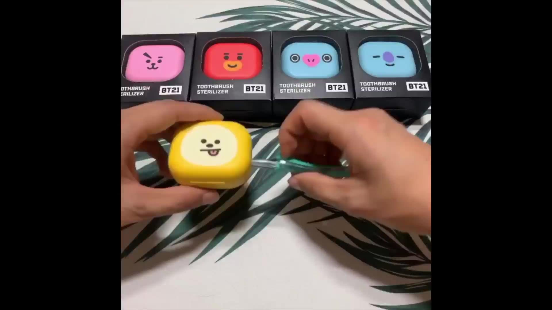 라인 친구 BT21 공식 칫솔 살균기-CHIMMY,COOKY,KOYA,MANG RJ,SHOOKY,TATA