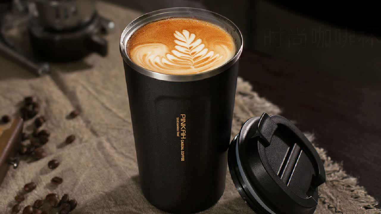 Pinkah Custom Logo Non Spill Powder Coated Insulated Travel Mug Coffee Cup Reusable Stainless Steel Vacuum Coffee Tumbler