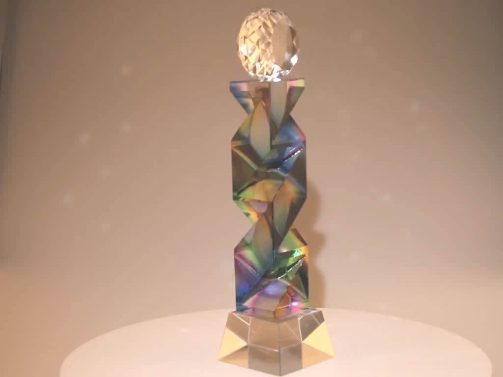 2019 creative new design dance sports competition high-end business memorial gift trophy blue multicoloured crystal trophy