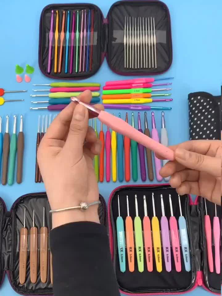 100Pcs DIY Aluminium Crochet Kit dengan Benang Jarum Rajut Jahit Kit Alat Crochet Hook Set